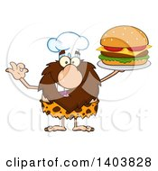 Chef Caveman Mascot Character Holding A Cheeseburger