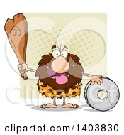 Cartoon Clipart Of A Caveman Mascot Character Holding A Club And Standing With A Wheel On Tan Royalty Free Vector Illustration