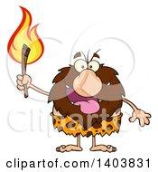 Cartoon Clipart Of A Caveman Mascot Character Carrying A Torch Royalty Free Vector Illustration
