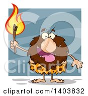 Cartoon Clipart Of A Caveman Mascot Character Carrying A Torch On Blue Royalty Free Vector Illustration by Hit Toon