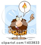 Cartoon Clipart Of A Caveman Mascot Character Holding Up A Finger And Talking About Fire On Blue Royalty Free Vector Illustration by Hit Toon