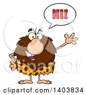 Cartoon Clipart Of A Friendly Waving Caveman Mascot Character Saying Hi Royalty Free Vector Illustration