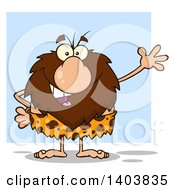 Cartoon Clipart Of A Friendly Waving Caveman Mascot Character Over Blue Royalty Free Vector Illustration