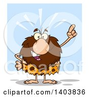 Cartoon Clipart Of A Caveman Mascot Character Holding Up A Finger On Blue Royalty Free Vector Illustration