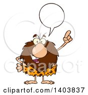 Cartoon Clipart Of A Caveman Mascot Character Talking And Holding Up A Finger Royalty Free Vector Illustration