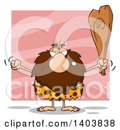 Cartoon Clipart Of A Mad Caveman Mascot Character Waving A Fist And Club On Pink Royalty Free Vector Illustration