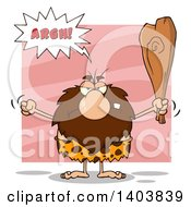 Cartoon Clipart Of A Mad Caveman Mascot Character Yelling Waving A Fist And Club On Pink Royalty Free Vector Illustration