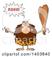 Cartoon Clipart Of A Mad Caveman Mascot Character Yelling Waving A Fist And Club Royalty Free Vector Illustration