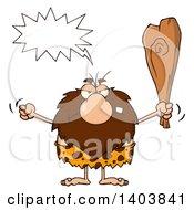 Cartoon Clipart Of A Mad Caveman Mascot Character Yelling Waving A Fist And Club Royalty Free Vector Illustration