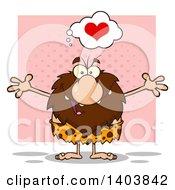 Cartoon Clipart Of A Caveman Mascot Character Wanting A Hug Over Pink Royalty Free Vector Illustration