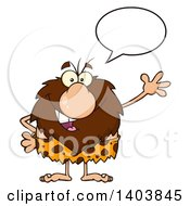 Cartoon Clipart Of A Friendly Talking And Waving Caveman Mascot Character Royalty Free Vector Illustration
