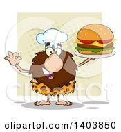 Chef Caveman Mascot Character Holding A Cheeseburger Over A Tan Square