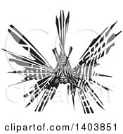Black And White Woodcut Lionfish