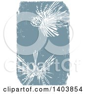 Clipart Of White Woodcut Lionfishes On Blue Royalty Free Vector Illustration by xunantunich