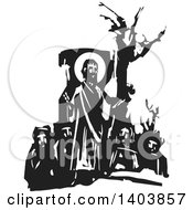 Clipart Of A Black And White Woodcut Scene Of Jesus Christ And Men Royalty Free Vector Illustration