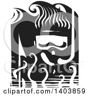 Clipart Of A Black And White Woodcut Diver Wearing A Snorkel Mask Royalty Free Vector Illustration