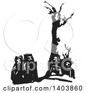 Clipart Of A Black And White Woodcut Group Of Men Under A Dead Tree Royalty Free Vector Illustration by xunantunich