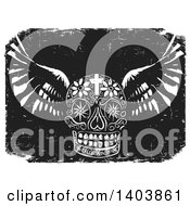 Clipart Of A Black And White Woodcut Winged Mexican Day Of The Dead Skull With A Cross And Flowers Over Grunge Royalty Free Vector Illustration