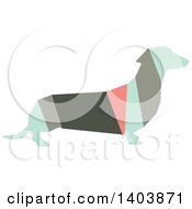 Clipart Of A Retro Geometric Colorful Profiled Dachshund Dog Royalty Free Vector Illustration