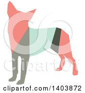 Clipart Of A Retro Geometric Colorful Profiled Chihuahua Dog Royalty Free Vector Illustration