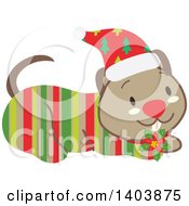 Clipart Of A Happy Striped Christmas Dog Royalty Free Vector Illustration