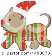 Clipart Of A Happy Striped Christmas Dog Walking Royalty Free Vector Illustration