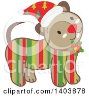 Happy Striped Christmas Dog