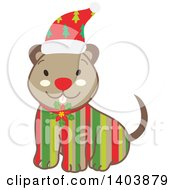 Clipart Of A Happy Striped Christmas Dog Sitting Royalty Free Vector Illustration