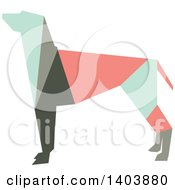 Clipart Of A Retro Geometric Colorful Profiled Hound Dog Royalty Free Vector Illustration