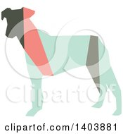 Clipart Of A Retro Geometric Colorful Profiled Terrier Dog Royalty Free Vector Illustration