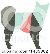 Clipart Of A Retro Geometric Colorful Profiled Dog Royalty Free Vector Illustration by Cherie Reve