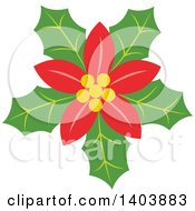 Clipart Of A Christmas Poinsettia Royalty Free Vector Illustration