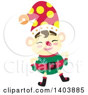 Clipart Of A Happy Christmas Elf Royalty Free Vector Illustration