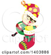 Clipart Of A Happy Christmas Elf Holding A Stocking Royalty Free Vector Illustration