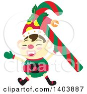 Clipart Of A Happy Christmas Elf Cheering With A Candy Cane Royalty Free Vector Illustration