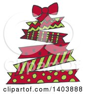Christmas Tree Made Of Green And Red Patterned Ribbons