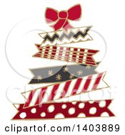 Clipart Of A Christmas Tree Made Of Patterned Ribbons Royalty Free Vector Illustration by Cherie Reve