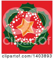 Clipart Of A Christmas Holly Wreath Around A Star On Red Royalty Free Vector Illustration
