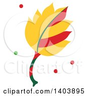 Clipart Of A Christmas Leaf With Green And Red Snow Royalty Free Vector Illustration