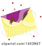 Clipart Of A Christmas Envelope And Crackers With Red Snow Royalty Free Vector Illustration