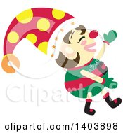 Clipart Of A Happy Christmas Elf Walking Royalty Free Vector Illustration