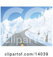 Icy Two Laned Road With Black Ice Winding Up A Mountain Between Snow Flocked Trees Clipart Illustration