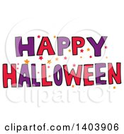 Happy Halloween Greeting Design With Stars