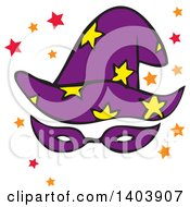 Clipart Of A Halloween Starry Wizard Hat With A Mask And Stars Royalty Free Vector Illustration by Cherie Reve