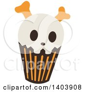 Clipart Of A Skeleton Halloween Cupcake Royalty Free Vector Illustration