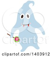 Clipart Of A Blue Halloween Ghost Holding A Lolipop Royalty Free Vector Illustration