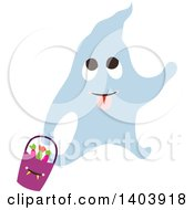 Clipart Of A Blue Halloween Ghost Holding A Basket Of Candy Royalty Free Vector Illustration