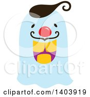 Clipart Of A Blue Halloween Ghost Royalty Free Vector Illustration