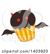 Clipart Of A Vampire Bat Halloween Cupcake Royalty Free Vector Illustration