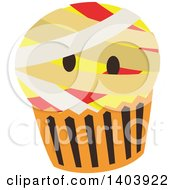 Clipart Of A Mummy Halloween Cupcake Royalty Free Vector Illustration